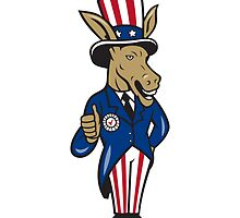 Democrat Donkey Mascot Thumbs Up Flag by patrimonio