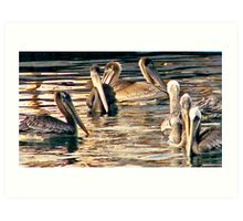 Pelicans of love Art Print