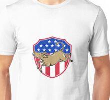 Democrat Donkey Mascot American Flag Unisex T-Shirt
