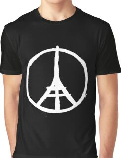 White Eiffel Tower Repeat on Black Paris Terror Attacks Graphic T-Shirt