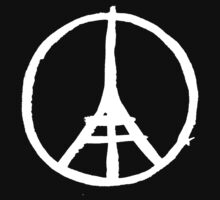 White Eiffel Tower Repeat on Black Paris Terror Attacks by podartist
