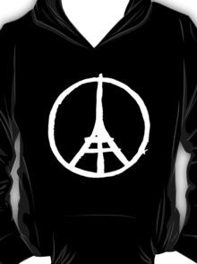 White Eiffel Tower Repeat on Black Paris Terror Attacks T-Shirt