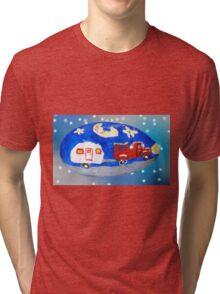 Rock Art, Truck, Trailer And The Moon Tri-blend T-Shirt