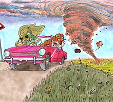 Elephant and Tiger Outrun the Storm by Stuart F Taylor