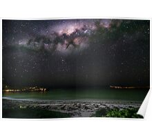 The Milky Way sets onto Dynamite Bay in Greenhead, Western Australia Poster