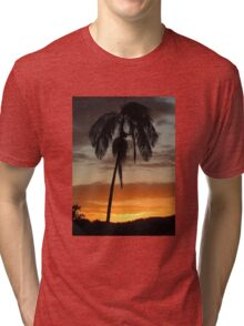 Sunset and a Palm Tree Tri-blend T-Shirt