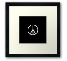White Eiffel Tower on Black Paris Terror Attacks Framed Print