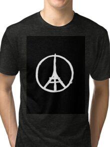 White Eiffel Tower on Black Paris Terror Attacks Tri-blend T-Shirt