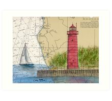 Muskegon Lighthouse MI Nautical Chart Cathy Peek Art Print