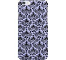 Pastel Blue & Black Vintage Damasks Pattern iPhone Case/Skin