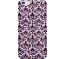 Pastel Pink & Black Vintage Damasks Pattern iPhone Case/Skin