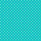 White & Turquoise-Blue Retro Polkadot Pattern by artonwear