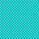 White & Turquoise-Blue Retro Polkadot Pattern by artonwear