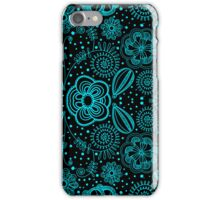 Turquoise & Black Vintage Abstract Floral Pattern iPhone Case/Skin