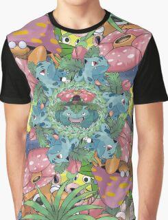 Grass Type Pokémon Collage Graphic T-Shirt