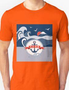 Japanese Nautical Anchor Rope Wave Mt Fuji Seagull Unisex T-Shirt