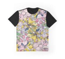 Psychic Type Pokémon Collage Graphic T-Shirt