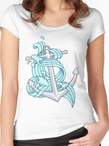 Ocean Wave Anchor Women's Fitted Scoop T-Shirt