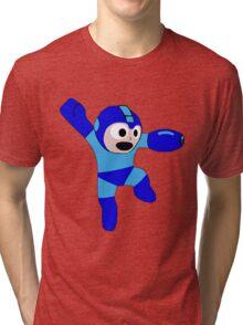 Megaman Retro 8-Bit Geek Smoothed Sticker Nerd Tri-blend T-Shirt