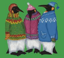 Penguins in Hand Knitted Sweaters One Piece - Short Sleeve