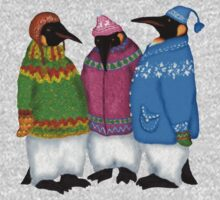Penguins in Hand Knitted Sweaters One Piece - Long Sleeve