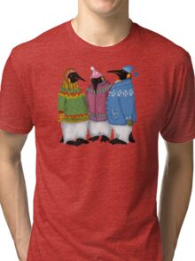 Penguins in Hand Knitted Sweaters Tri-blend T-Shirt