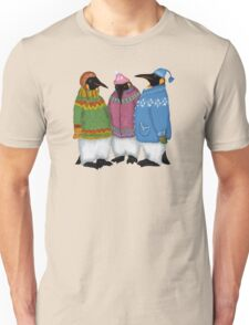 Penguins in Hand Knitted Sweaters Unisex T-Shirt