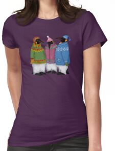 Penguins in Hand Knitted Sweaters Womens Fitted T-Shirt
