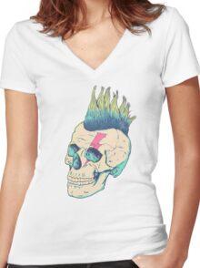 Skull Punk Women's Fitted V-Neck T-Shirt
