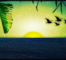 Sunset with Birds and Palm Trees by DFLC Prints