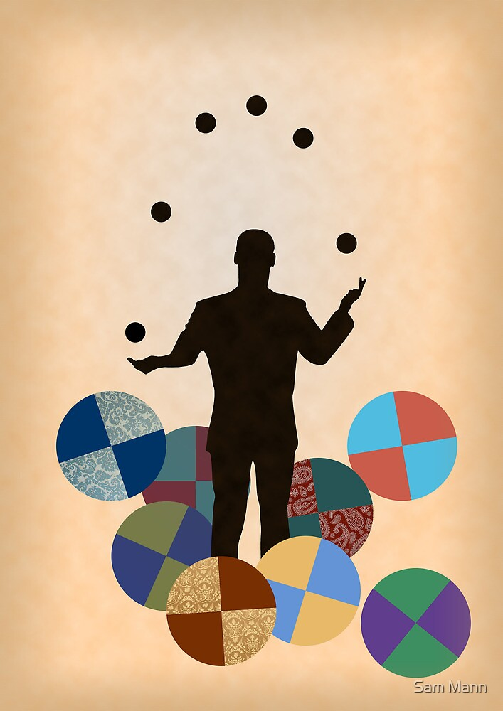 Silhouette Juggler with Props - Balls by Sam Mann