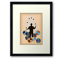 Silhouette Juggler with Props - Balls Framed Print