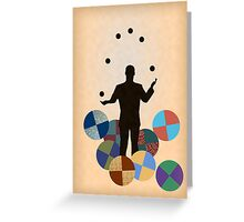 Silhouette Juggler with Props - Balls Greeting Card