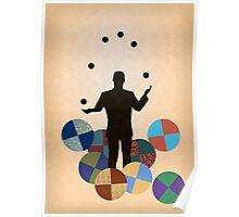 Silhouette Juggler with Props - Balls Poster