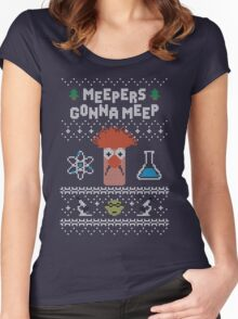 Meepers Gonna Meep - Ugly Christmas Women's Fitted Scoop T-Shirt