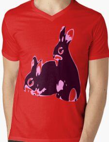 ★♥ټAdorable Pink-Black Bunnies Clothing & Stickersټ♥★ Mens V-Neck T-Shirt
