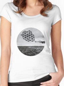 Landscape of Geometry Circular Sticker Women's Fitted Scoop T-Shirt