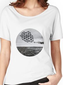 Landscape of Geometry Circular Sticker Women's Relaxed Fit T-Shirt