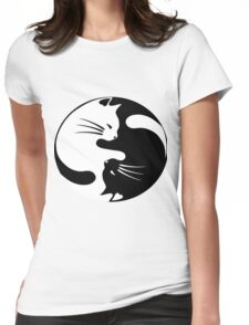 Ying yang cat Womens Fitted T-Shirt