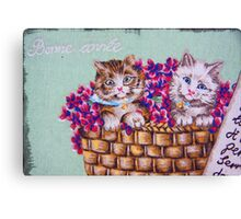 Kittens In A Basket Canvas Print