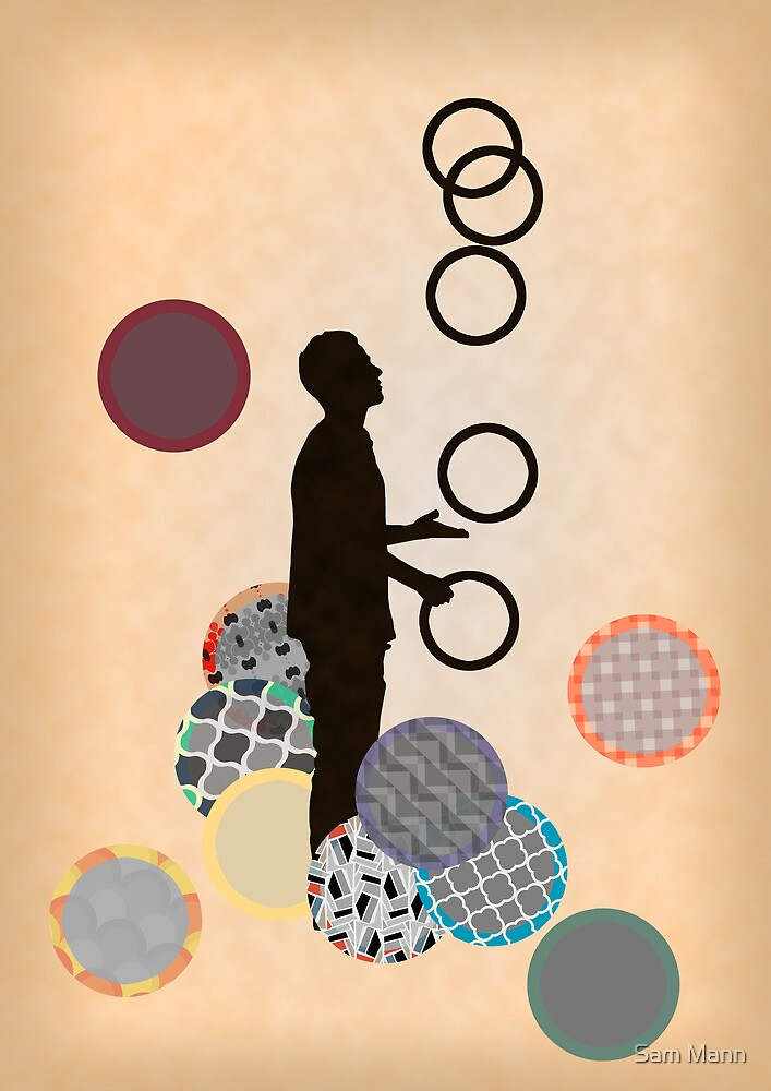 Silhouette Juggler with Props - Rings by Sam Mann
