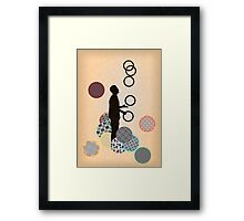 Silhouette Juggler with Props - Rings Framed Print