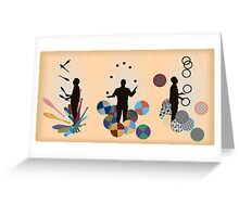 Silhouette Juggler with Props - Clubs, Rings and Balls Greeting Card