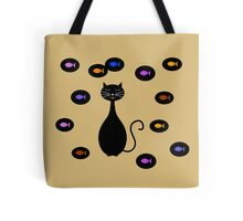 Black Yellow Cat and Fish Illustration  Tote Bag