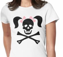 """Halloween """"Girl Skeleton With Pink Bows"""" T-Shirt Womens Fitted T-Shirt"""