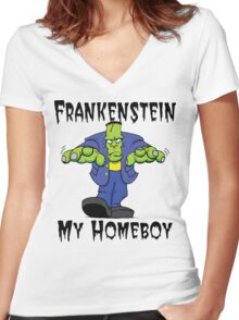 "Halloween ""Frankenstein Is My Homeboy"" T-Shirt Women's Fitted V-Neck T-Shirt"