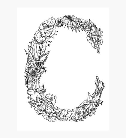 Floral Letter C Photographic Print