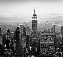 Sunset of Manhattan BW by Randy  LeMoine