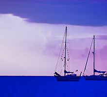 Sailboats in the Sunset by Don Schwartz