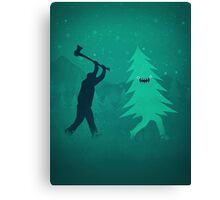 Funny Christmas Tree Hunted by lumberjack (Funny Humor) Canvas Print